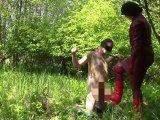 Amateurvideo Lady in red, dem dominierenden Bestandteil: Knien Slave von bondageangel